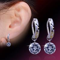 Wholesale Wholesale Bare Copper - New Women Earrings Jewelry Austria Crystal Bare Drill Dangle Earrings 925 Sterling silver Cubic Zircon Earrings for Wedding Party