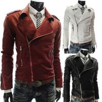 rote ledermäntel für männer großhandel-2015 Männer nehmen Revers beiläufige PU-Fauxlederjacke mit der synthetischen Oberbekleidung der Ziper-Männer Mäntelkleidung ab, die rot / weiß / schwarz kleidet