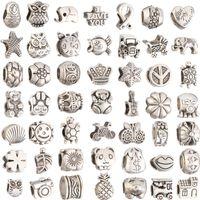 collar de joyas de bricolaje al por mayor-Mezcla 29 estilo del agujero grande encanto de los granos sueltos para Pandora DIY pulsera de la joyería para la pulsera europea Necklace