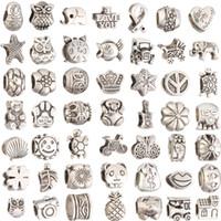 boncuklar karıştır toptan satış-Mix 29 Stil Büyük Delik Gevşek Boncuk charm Avrupa BraceletNecklace Için Pandora DIY Takı Bilezik Için