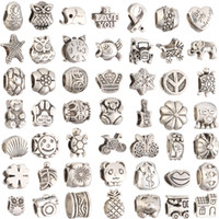 Wholesale Big Hole Beads Silver - Mix 29 Style Big Hole Loose Beads charm For Pandora DIY Jewelry Bracelet For European Bracelet&Necklace