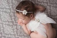 Wholesale Diamante Hair Bow - Baby Angel Wing + pearl diamante flower Thin Elastic headband Set newborn Pretty Angel Fairy white feathers Wing Costume Photo Prop YM6110