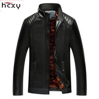 Wholesale Male Leather Wool Clothing - Wholesale- HCXY mens Leather Jackets coat Men Autumn Winter Leather Clothing Men aviator Pu jacket Male Business casual Coats Brand