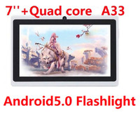 Wholesale Mid Tablet Screens - Tablet PC Quad Core Flashlight 7 inch Q88 Android 5.0 Dual Camera capacitive screen 512MB 4GB Wifi MID DHL FREE