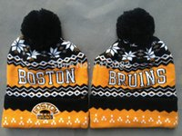 Wholesale Hockey Brand Hats - Wholesale-Boston Bruins hat Brand caps sport team ice hockey beanies Skullies,cheap Autumn Winter cap men and women beanie knitt cap