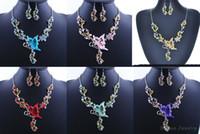 gelin setleri toptan satış-6 Renkler Kadınlar Kelebek Çiçek Rhinestone Kolye Bildirimi Kolye Küpe Takı Seti Moda Takı Gelin Gelinlik Takı Setleri