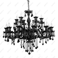 Wholesale Candle Pendant Style Lighting - black Crystal Chandeliers at factory direct price black color Custom Chandeliers Italian Murano style chandeliers classic candle chandelier
