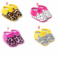 Wholesale Camo Fabric Wholesale - Baby First Walker moccs Baby moccasins soft sole moccs leather camo leopard Zebra prewalker booties toddlers infants bow leather shoes