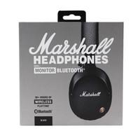 ingrosso cuffie avricolari del bluetooth del casco-Marshall Monitor Bluetooth Wireless HiFi Cuffie audio casco cuffie auricolari wireless con vendita al dettaglio scatola calda