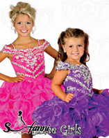 Wholesale Toddlers Discount Dresses - Sparky Girls Pageant Dress Organza Beads Crystals Little Toddler Pageant Dresses Big Discount Short Kids Formal Party Dresses 724