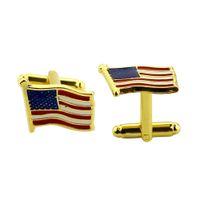 Wholesale Fine Jewelry Cufflinks - Wholesale New Fashion Gold US American Flag Christmas Men's Alloy Fine Jewelry Cufflink Drop Shipping