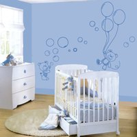 Wholesale Black Bear Small Wall Decal - Little Bears and Balloons Removable Nursery Vinyls Wall Decals Muursticker Baby Baby Wall Stickers for Kids Nursery Wall Decor