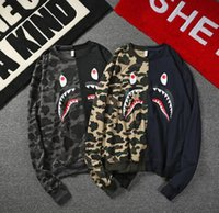Wholesale Mouth Slimmer - vetements stu The fall male American hip hop hoodies camouflage high street fish mouth neck long sleeved jacket
