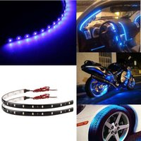 Wholesale Truck Led Strip Lighting - 12V 30cm 15 LEDs Car Motors Truck Decoration Lights Waterproof Flexible LED Strip Light Car Lights Free Shipping