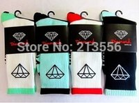 Wholesale Diamond Skateboard Socks - Wholesale-8pcs=4pair Hot Sell Diamond Socks High Quality Brand Cotton Long Skateboard Basketball Stockings Men's Sport Socks