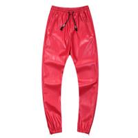 pantalones jogger de piel sintética para hombre al por mayor-Al por mayor-2015 pantalones de cuero para hombre hip hop dance joggers Faux Leather sweatpants baja caída entrepierna masculina de marca pantalones Pantalones Hombre