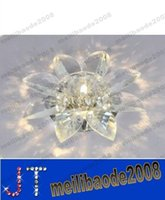 Wholesale Sunflower Ceiling Lights - Modern Small size 18cm Clear Crystal Sunflower corridor Ceiling Light living Room Lobby G4 Bead Embeded Surface Mounted Crystal Ceiling MYY2