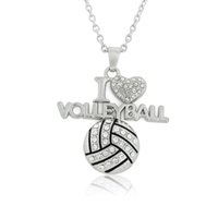 Wholesale Sports Bling Wholesale - Fashion Bling Bling Crystal I Love Volleyball Pendant Necklace Sports Style Women JewelryChristmas birthday volleyball gifts