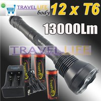 Wholesale Super Bright 12x Cree - 13000 Lumen Super Bright 12X CREE XML T6 LED Flashlight Torch + Trustfire 3X 26650 Rechargeable Battery + TR-006 Charger