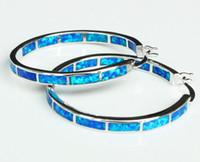 Wholesale Large Opal Earrings - Charming Large Blue   White Fire Opal Hoop Earrings for Christmas Gift