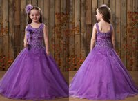Wholesale Glaring Color Dress - 2014 Purple New Arrival Glaring Beaded Sequins A-line Skirt Little Girls Pageant Dresses Flower Girls Gowns