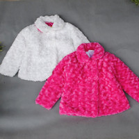 Wholesale Polyester Jacket Coat - Retail Children's Woolen Coat 2015 winter kids girl outwear clothes Polyester toddler jackets baby girls costume Rose Red White 201507HX