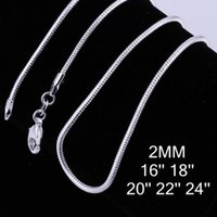 925 serpiente de plata de 2 mm 24 pulgadas al por mayor-100PCS plata de ley 925 2MM cadena de serpiente collares joyería de alta calidad 925 plata cadena de serpiente lisa 16 pulgadas - 24 pulgadas tamaño de mezcla gratis