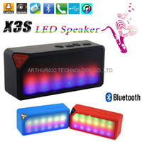 Wholesale Ipad Flash Card Reader - LED Flashing X3S Bluetooth Speaker Mini Portable Audio Player Music for iPhone Samsung Tablet iPad Support TF Card With Mic