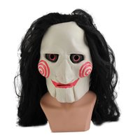 Wholesale Bell Full Face - #Cu3 Grimace Party Mask Full Face Halloween Latex Saw Billy Jig Saw Tobin Bell Jigsaw Head Mask With Hair Horror Mascara