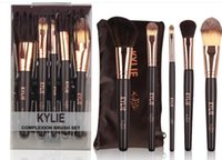 Wholesale Hair Gift Boxes - Top Quality! Christmas Gifts Kylie Jenner 5pcs set with box makeup brush foudation powder brush set