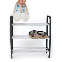 ingrosso pattini in plastica-La nuova luce nera del supporto dell'unità di scaffale del supporto dell'organizzatore dello scaffale delle scarpe di 3 livelli libera il trasporto, dandys
