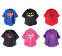 Wholesale Raincoat Spiderman - NEW Kids superhero raincoat Super hero Spiderman Supergirl Batgirl Spidergirl Kids RainCoat children Rainwear shipping free
