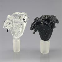 ingrosso ciotola di bong grande-Soulton Glass Double Head Cobra Ciotole in vetro massiccio per bong e pipe ad acqua con raccordo maschio 18.8mm 14.4mm BW-029