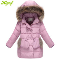 Wholesale Girls Purple Fur Coat - Wholesale-2015 Fur Hood Girls Parka Down Jacket For Girl Winter Coat Children's Winter Jackets With Gloves Retail 1PC ZZ3280