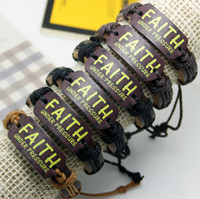 Wholesale Chinese Letter Charms - leather bracelet free shipping brown leather rope weaving Chinese style bracelet cross religious bracelets for men's women 'FAITH'