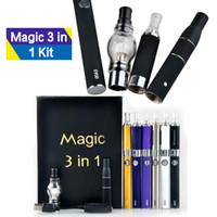 ingrosso evod erba secca vaporizzatori penna-Magic 3 in 1 Starter Kit Vaporizzatore Wax Dry Herb Ago MT3 Glass Globle Atomizzatore 900mAh EVOD Batteria Vaporizzatori Pen Kit