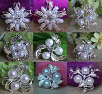 perla de diamantes de imitación broche al por mayor-9 estilos de plata de la vendimia de diamantes de imitación de diamantes de imitación de cristal y crema de imitación perla clúster gran nupcial ramo broche de joyería