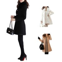 Wholesale Double Jacket Coat - S5Q Womens Wool Blends Overcoat Coat Slim Fit Trench Double Breasted Winter Long Section Jacket Parka AAAECY