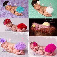 newborn unisex gift set großhandel-6 Farben Baby Rüschen Pumphose Stirnbänder Sets Infant Newborn Kinder Petti Tutu Rüschen Hosen Blume Headwear Headwrap Anzüge Geburtstagsgeschenk
