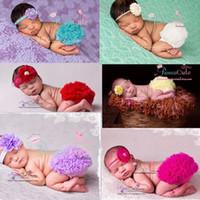 bebek bloomers çiçekler toptan satış-6 renkler Bebek fırfır bloomers bantlar setleri Bebek Yenidoğan Çocuklar Petti Tutu Fırfır Pantolon Çiçek Şapkalar Headwrap Suits Doğum Günü Hediye
