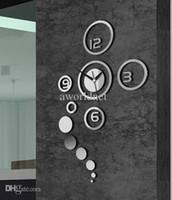 duvar sanatları toptan satış-Cazip DIY Dekoratif Sanat Duvar Saati Yaratıcı Ev Duvar Dekor Oturma Odası Duvar Saati Akrilik Ayna Çıkartmalar