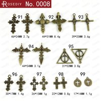 Wholesale Cross Bead Charms Cheap - Wholesale DIY retro cross charms, alloy religious pendants beads, China Indian cheap copper crucifix charm Harry Potter artifact