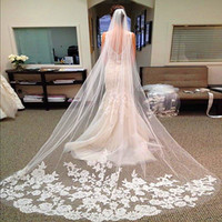 Wholesale Long Sheer White Veils - 2.8 Meters Long Bridal Veils Elegant Wedding Veil With Lace Edged White Ivory One Layer Sheer Lace Applique Bridal Veil Wedding Accessories