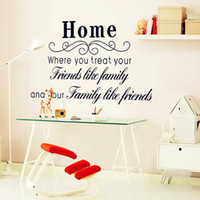 Wholesale Family Wall Quotes Large - Black Home Wall Quote Decal Sticker Decor--Where you treat your friends like family and your family like friends Proverb Wallpaper Decor