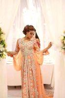 Wholesale chiffon kaftans - Luxury Abaya Dubai Kaftans Caftan Evening Dresses Beaded Jewel A-Line Party Prom Dress Long Sleeve Arabic Gowns Sweep Train Lace Beading HY