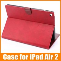 Wholesale Horse Cases - For iPad Air 2 Leather Flip Case Crazy Horse Protective Stand With Card Slot Holder Cover