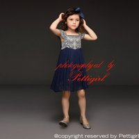 Wholesale Tulle Tutu Boutique - Pettigirl 2018 Summer Navy Tulle Girl Dress With Embroidery Top Princess Dresses With Bow Belt Boutique Kids Clothing GD50611-3