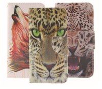 Wholesale Iphone4s Covers Leather - Fashion Cool 3D tiger Pattern Stand Wallet Leather Flip Case Cover for iphone4S 5S 6S 6 plus Samsung S6 S5 S4 note4 note5