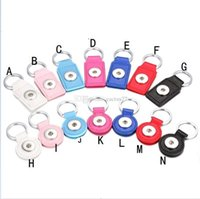 Wholesale Leather Metal Chain Jewelry - Noosa PU Leather Snap Button Keychain Square Round Snap key rings Jewelry DIY 18mm Snap Button Key chain Keyrings Accessories