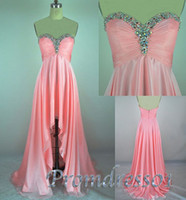 Wholesale High Low Actual Crystal - Sweetheart Beaded High Low Prom Dresses Actual Images Sexy Backless A Line Teens Pageant Gowns Special Occasion Dresses Party Evening Gowns
